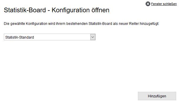 Statistikbaukasten - Konfiguration öffnen