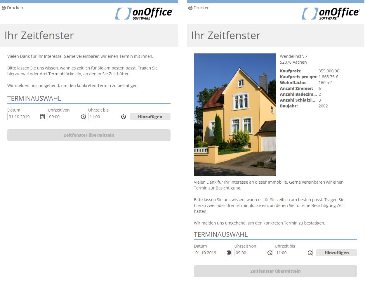 Webformular für Zeitfenster allgemein und bei Besichtigung
