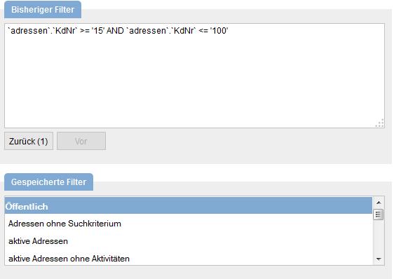 Anzeige der bereits gespeicherten Filter