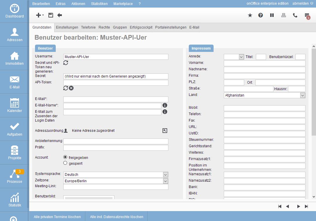 Neu erstellter API-Benutzer