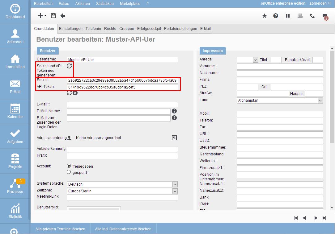 Token und Secret für den API-Benutzer