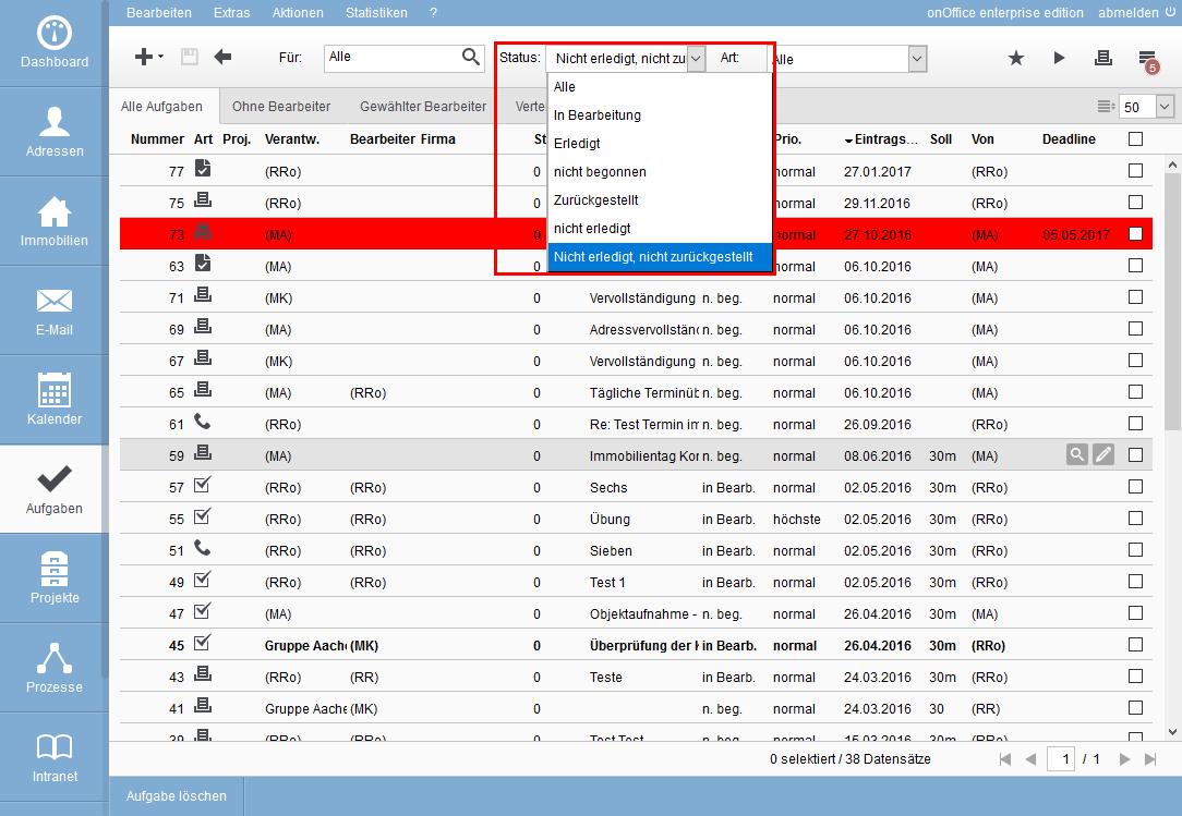 Status in der Filterleiste der Aufgabenliste