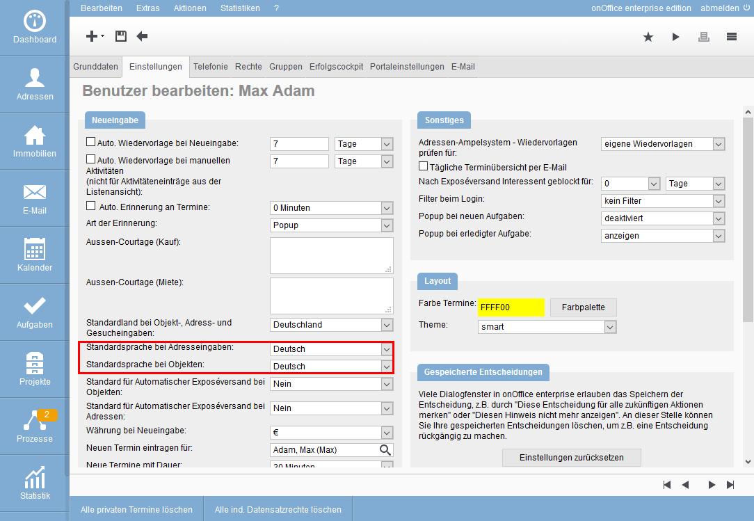 Einstellungen im Benutzer für Sprachen bei Neuanlage von Immobilie/Adressen