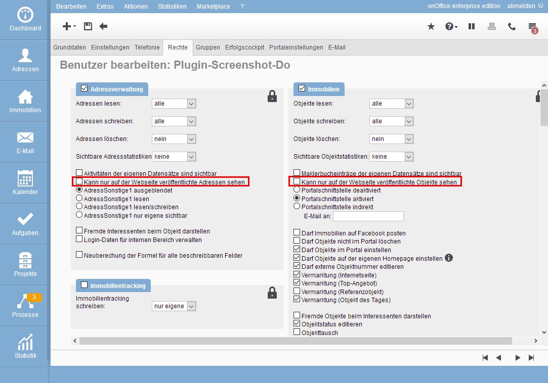 Rechteeinstellungen für API-Benutzer