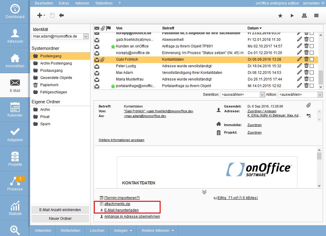 Herunterladen der E-Mail als ZIP-Datei