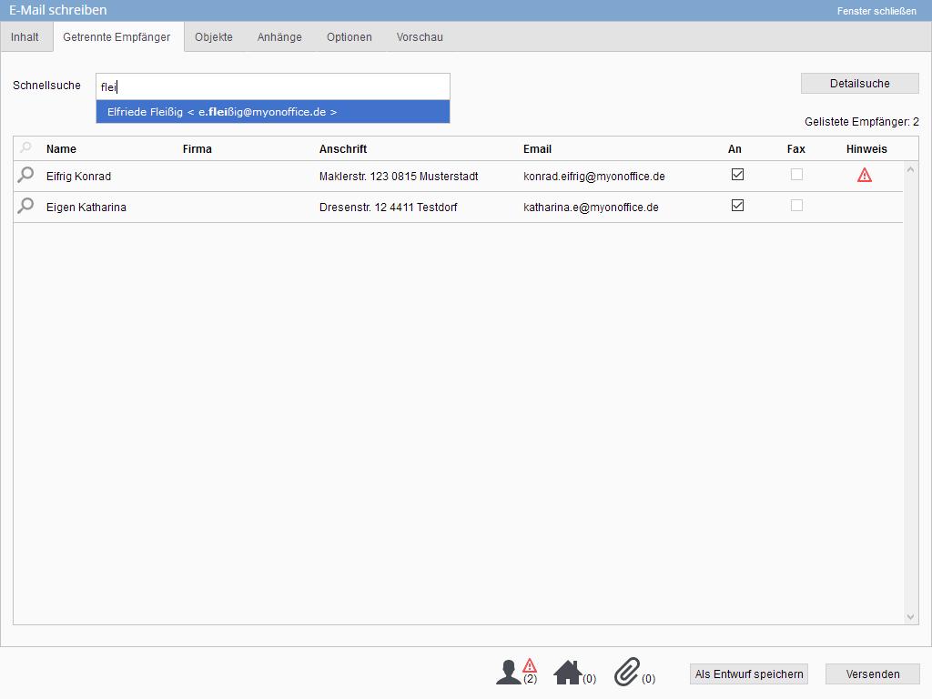 getrennte Empfänger im E-Mailcomposer