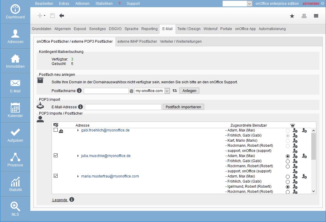 E-Mailverwaltung Grundeinstellungen