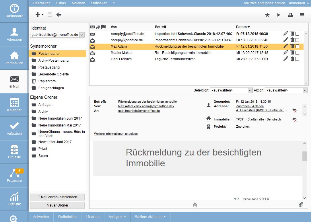 E-Mailverwaltung Vorschau
