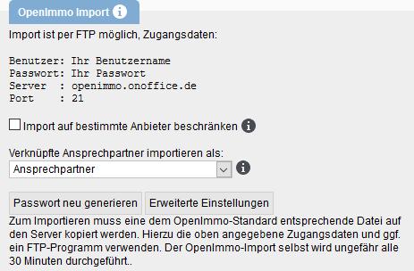 OpenImmo Importeinstellungen