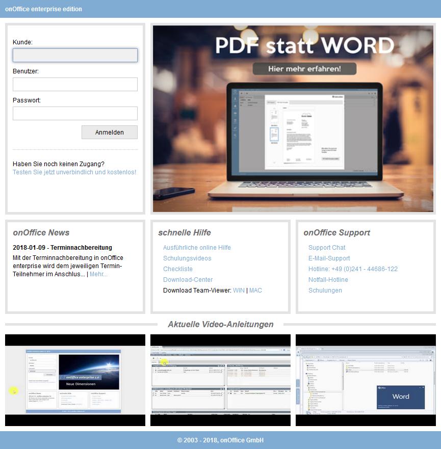 Loginseite für onOffice enterprise edition