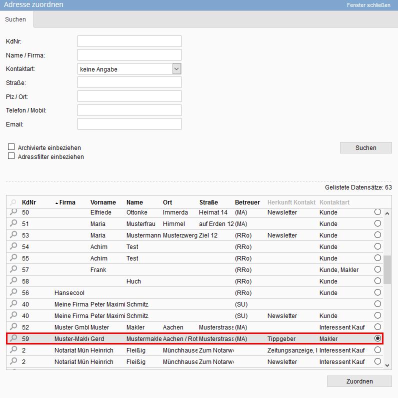 Makleradressdatensatz Adresse zuordnen