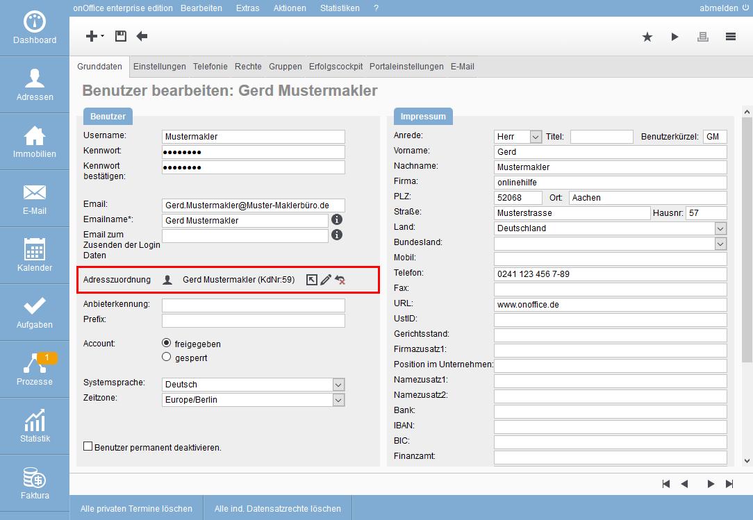 makleradressdatensatz adresszuordnung