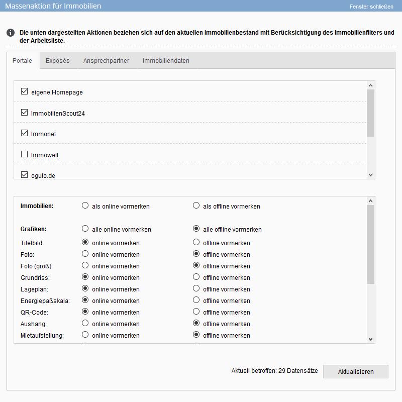 MAssenaktualisierung, Bilder und Immobilien für die Veröffentlichung auf Portalen