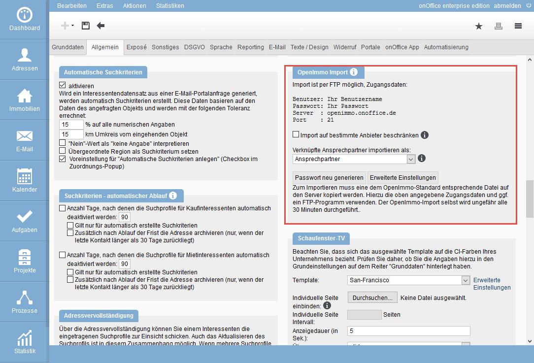 Zugangsdaten Für den OpenImmo Import in den Grundeinstellungen