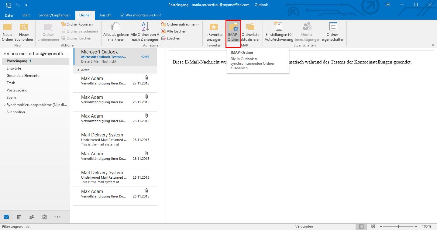 Outlook IMAP-Ordner hinzufügen
