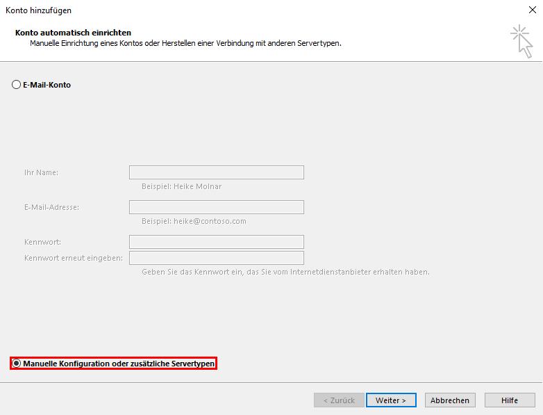 Outlook manuelle Konfiguration