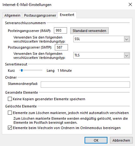 Outlook weitere Einstellungen 2