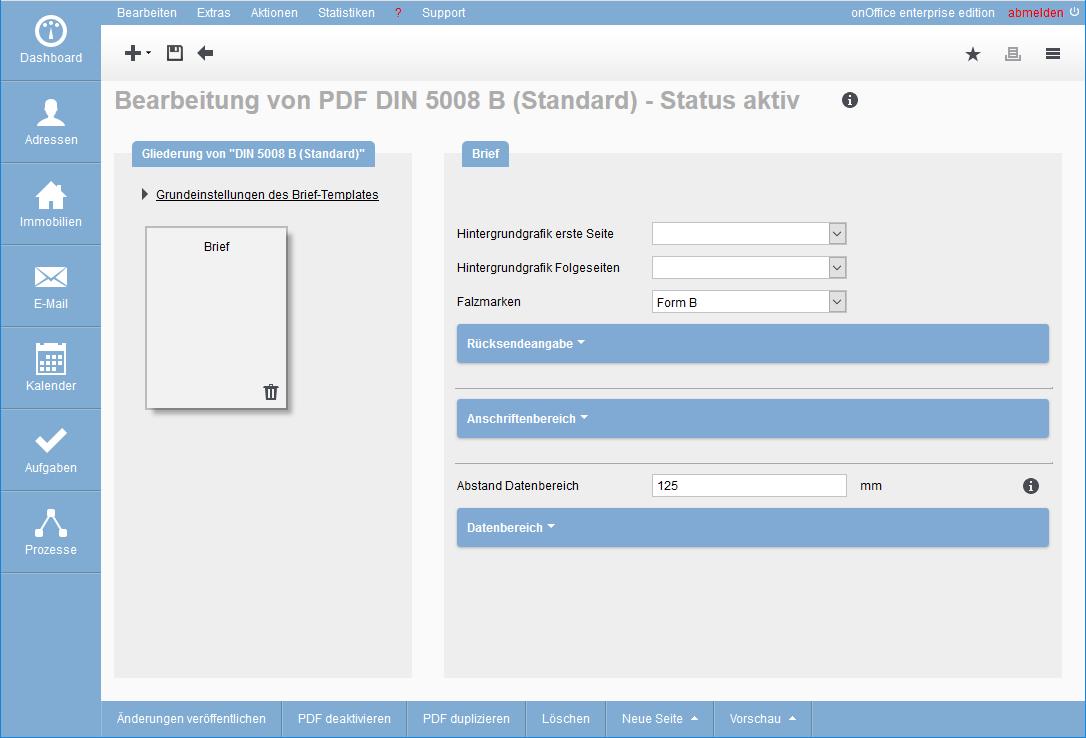 Inhalt von PDF-Brief-Template erstellen