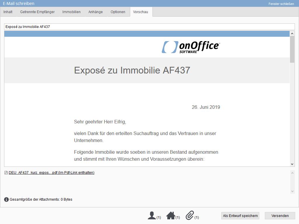 E-Maildarstellung mit PDFLink