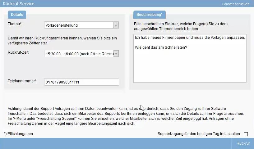 Popup Rückruf-Service