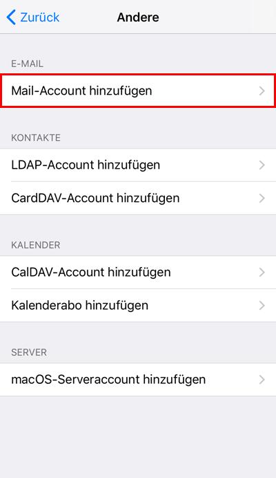 iPhone Einbindung eines Postfaches Schritt 4