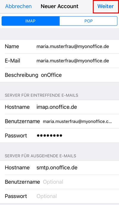iPhone Einbindung eines Postfaches Schritt 6