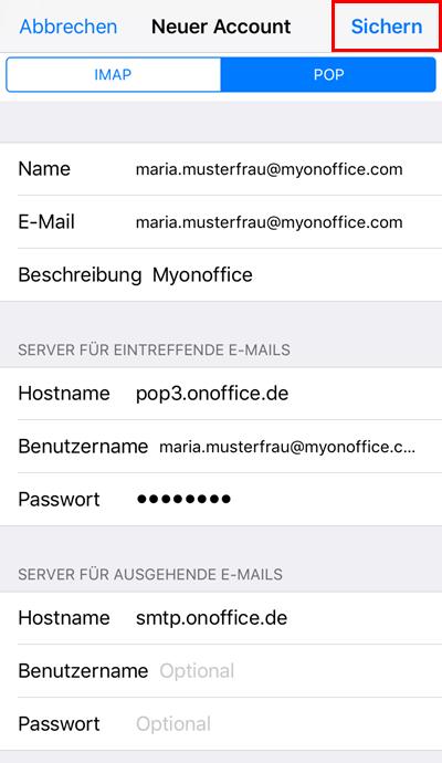 iPhone Einbindung eines Postfaches Schritt 8