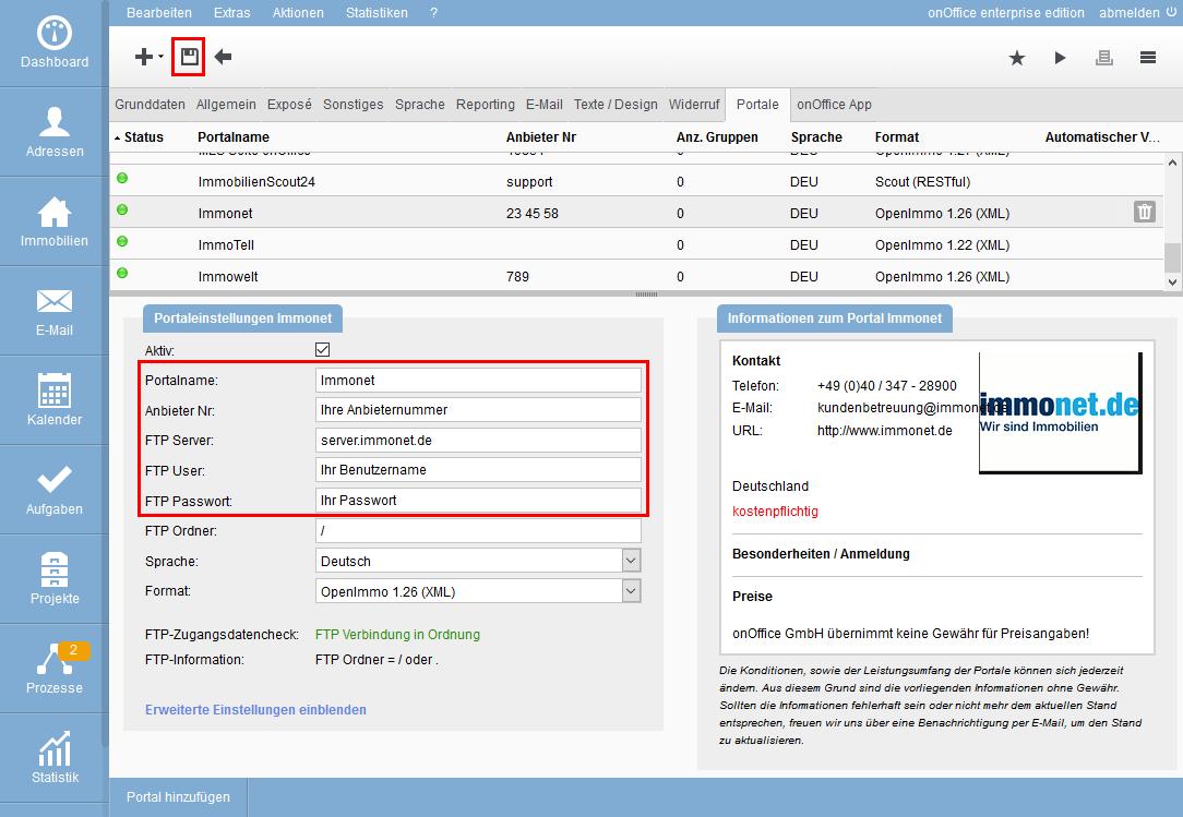 Eingabe der FTP-Daten