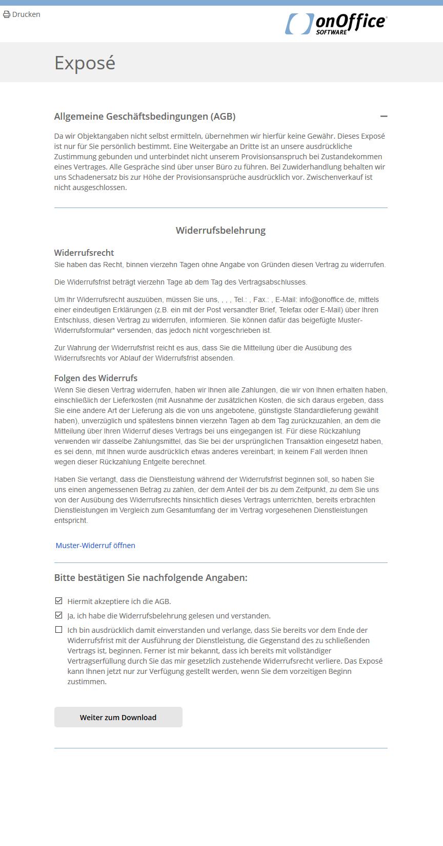Webseite mit Widerrufsbelehrung und der Abfrage