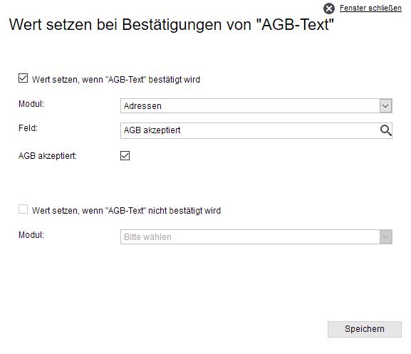 Konfiguration, AGB Bestätigt in der Adresse setzen wenn die Abfrage bestätigt wird.